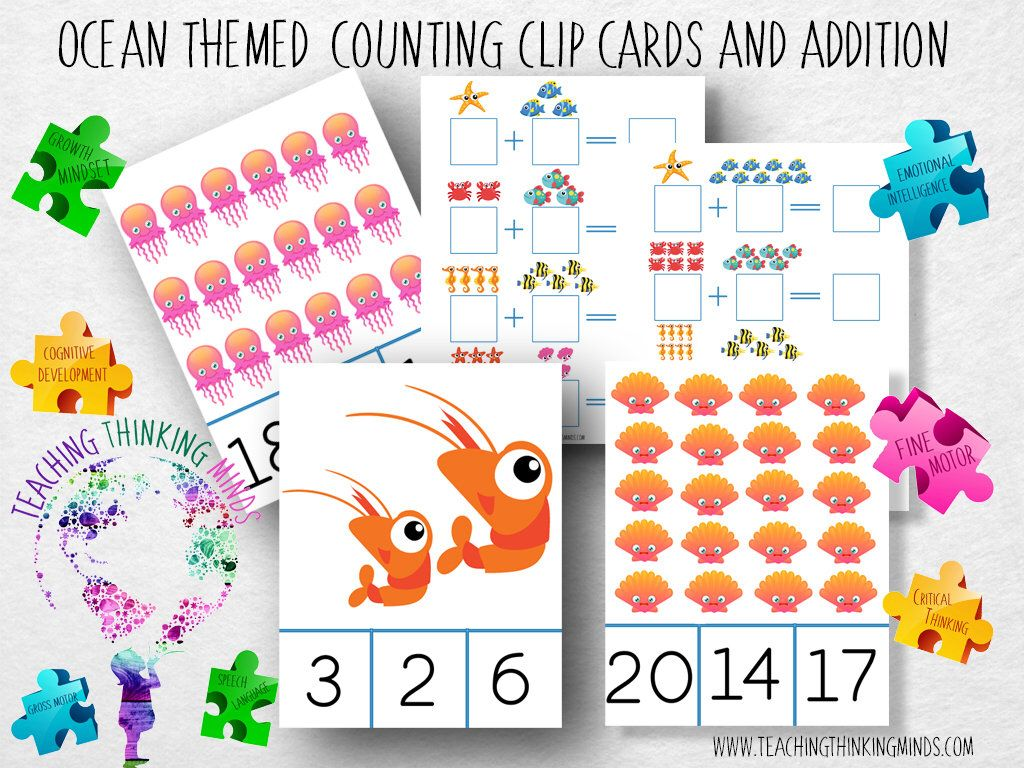Ocean Themed Counting Clip Cards And Addition Cards