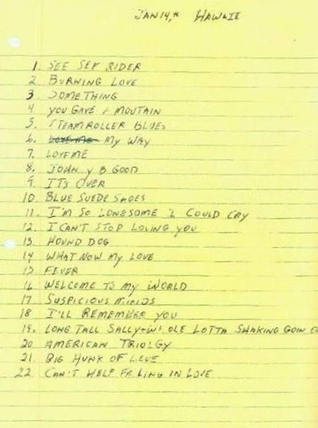 Song List Written By Elvis For Hawaii Show With Images Elvis
