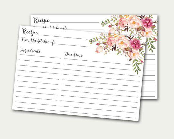 recipe card bridal shower recipe card printable card diy recipe card floral recipe card recipe