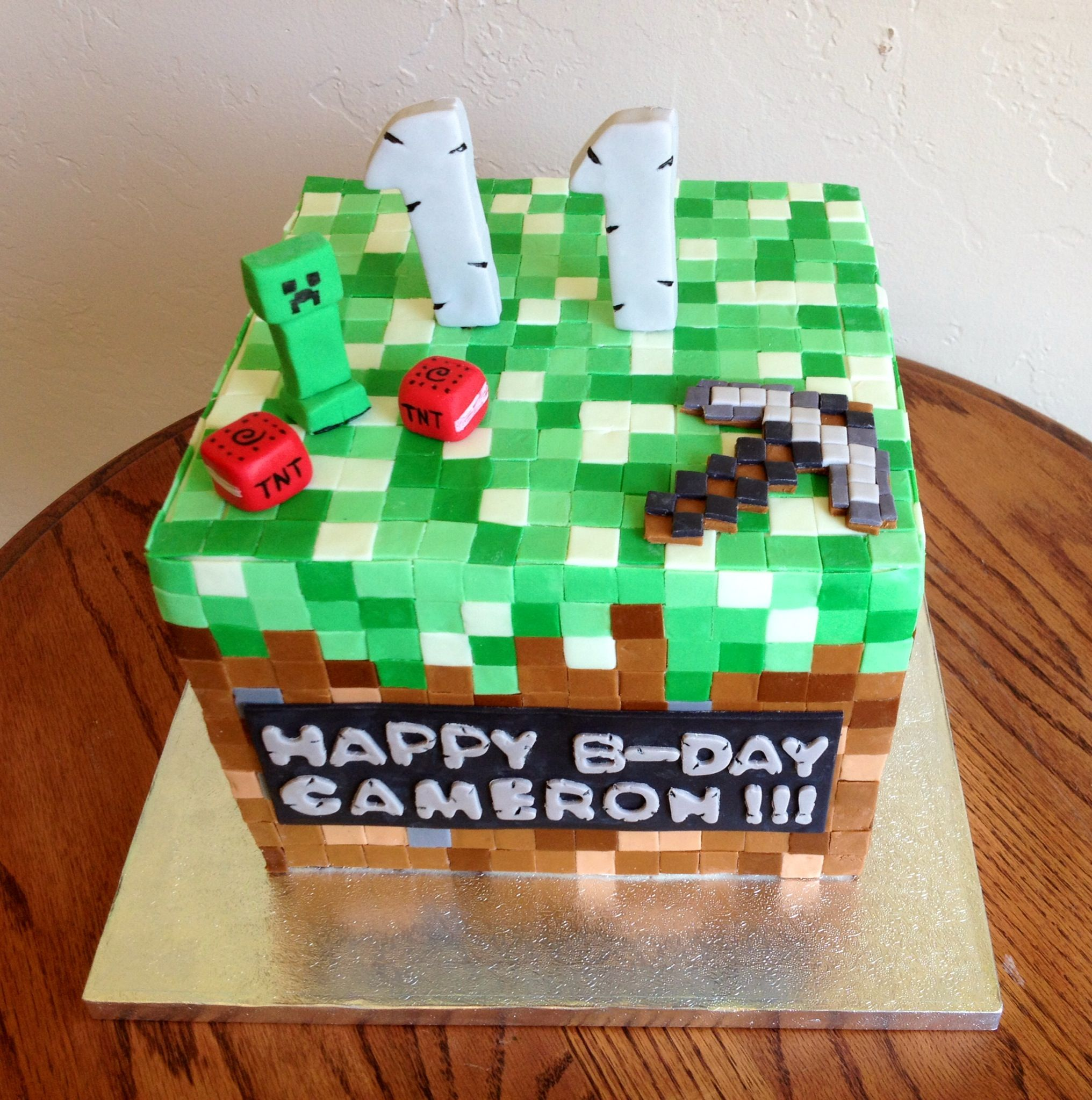 Minecraft Cake for an 11 year old birthday boy. He was so