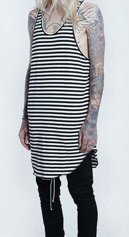 Fear Of God Yeezy Rick Owens Black & White Striped Tank - Tanktop Top