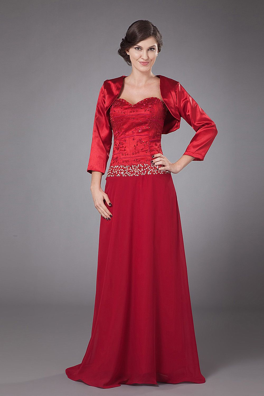 Red Chiffon Sweetheart Dress