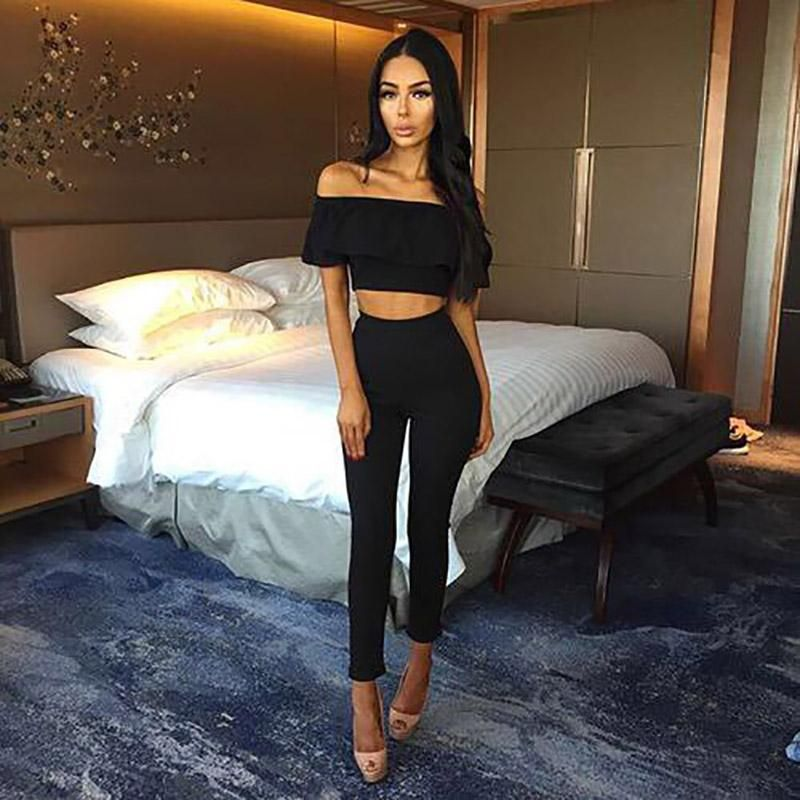 Casual Women Suits Sexy Two Piece Outfits Girls Crop Top And Long