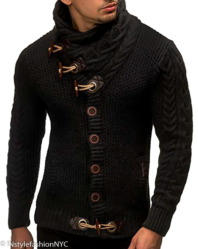 3b9119d01500 Men s Black Cross-Over Neckline Turtleneck Sweater, INstyle fashion ...