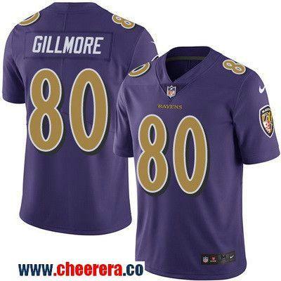 Men's Baltimore Ravens #80 Crockett Gillmore Purple 2016 Color Rush Stitched NFL Nike Limited Jersey