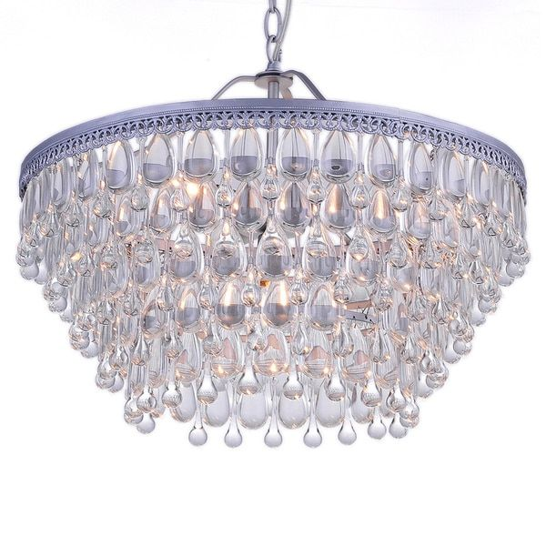 Wesley Crystal 6 Light Chandelier With Clear Teardrop Beads Ping