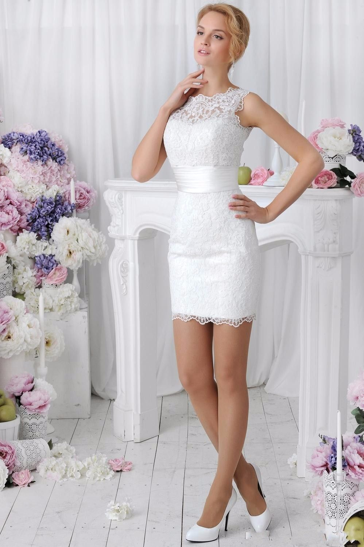 Elegant 2 in 1 Lace Wedding Dress Detachable Skirt High Neck Two ...
