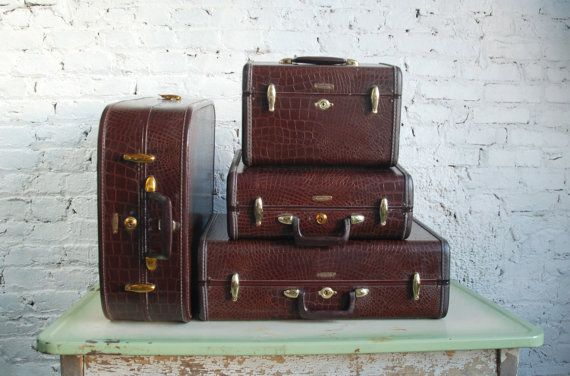The set my grandparents had...makes me smile..    Vintage Samsonite leather luggage Set of 4 by thevintagetreehouse, $290.00