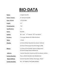 Biodata in english examples