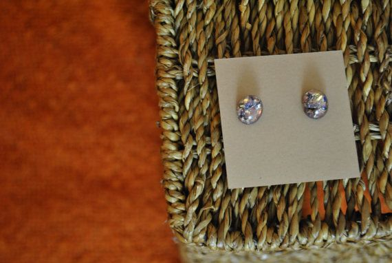 Handmade earrings amethyst glass cabochon on by ATouchOfJewels, $19.00