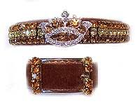Topaz and chocolate crystal collar on velvet with center rhinestone crown