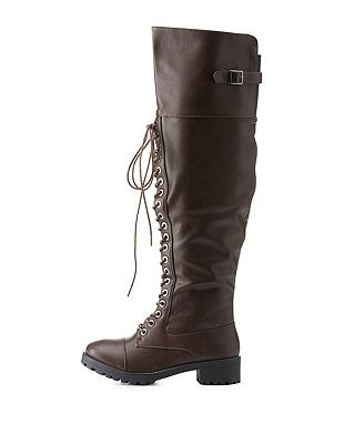Belted Over-the-Knee Combat Boots: Charlotte Russe