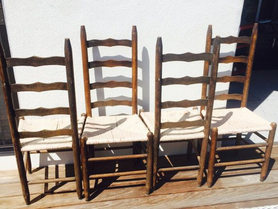 SALE Vintage Ladderback Rush Seat Chairs Four 4 By TizaVintage