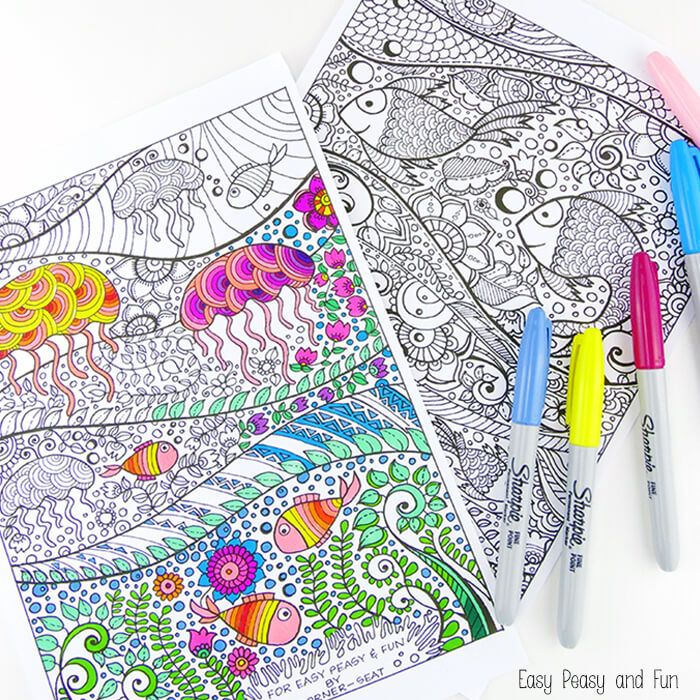 big kids and adult coloring pages print out these beautiful and relaxing even soothing under the sea coloring pages provided by easy peasy and fun