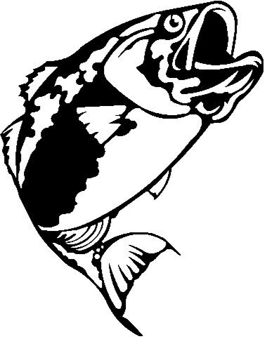 largemouth bass outline clipart best