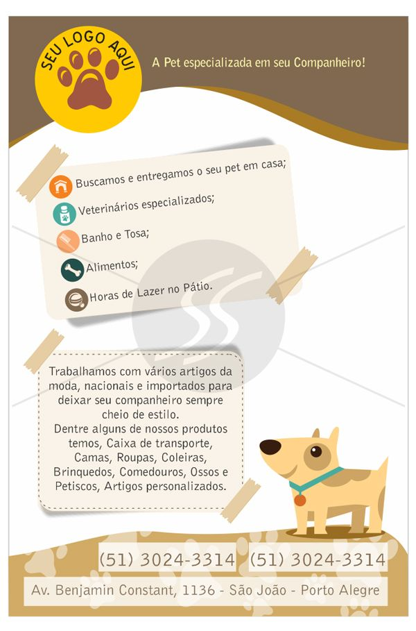 Modelo De Panfleto Pet Shop Coisas Para Comprar Pinte