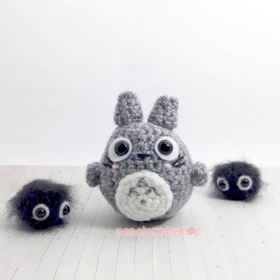 Totoro Plush Kawaii Plush Crochet Amigurumi Totoro Mini   miniaturas ...