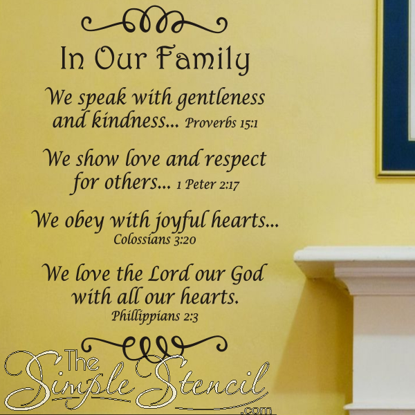 Family Quotes Scripture: In Our Family Wall Quote Decal That Uses Bible Verses To