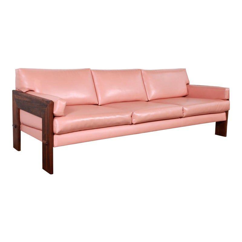 Mid Century Modern Adrian Pearsall For Craft Associates Pink Vinyl Walnut Sofa In 2020 Walnut Sofa Sofa Frame Midcentury Modern