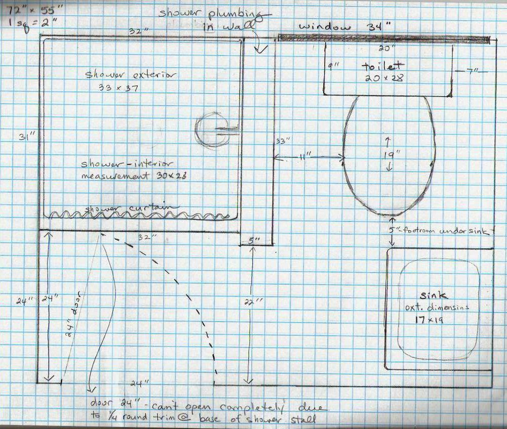 5 Acres & A Dream: Bathroom Plans On Graph Paper