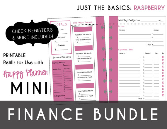 Mini Happy Planner Finance Bundle Check Register Monthly