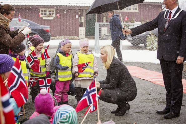 Crown Princess Mette-Marit of Norway attended the opening of a shelter for homeless people at Kongsberg on March 25, 2015