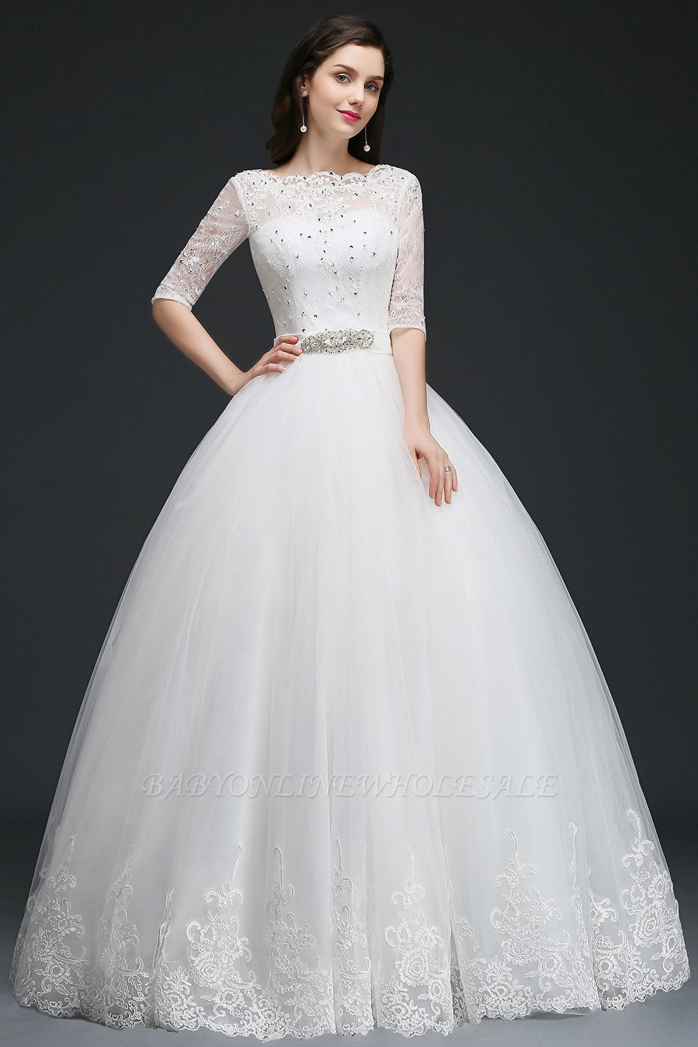 AMERICA | Ball Gown Floor Length Tulle Glamorous Wedding Dresses with Lace | www.babyonlinewholesale.com
