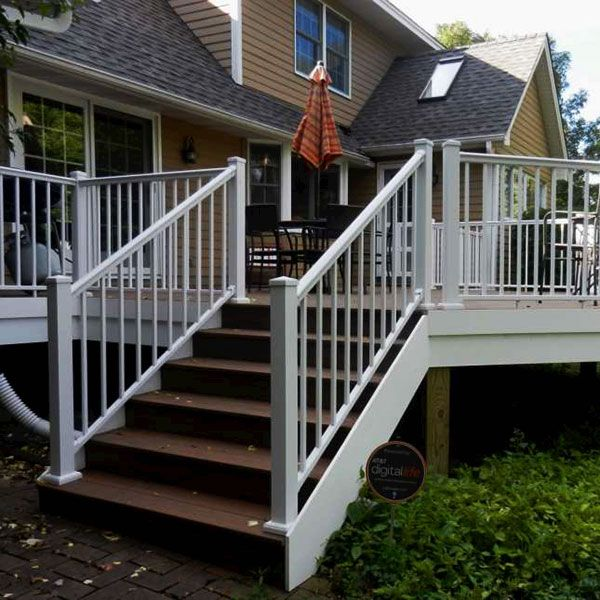 Afco aluminum railing in textured white with post to