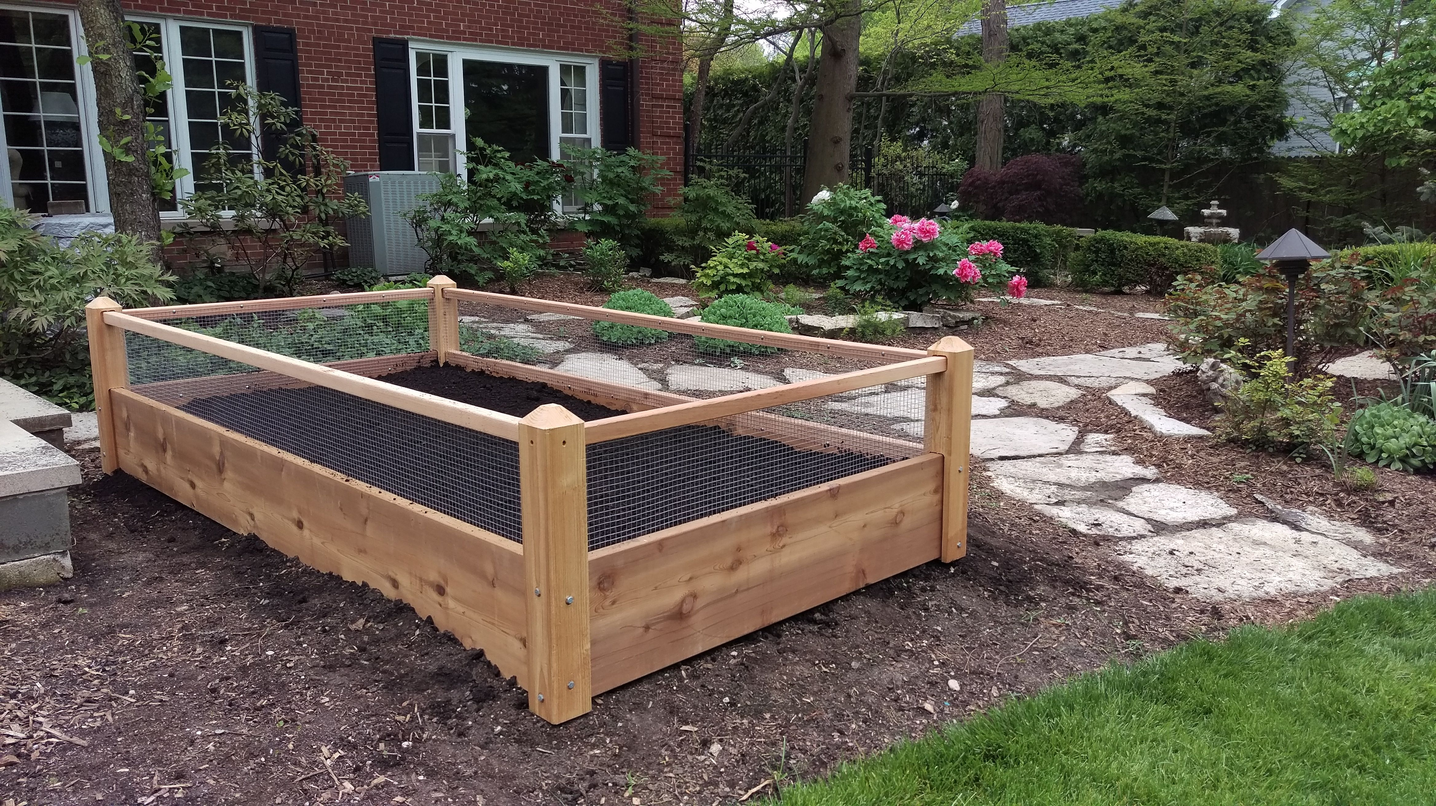 One 3x8x2 Raised Garden Bed with Rabbit Railings Delivered