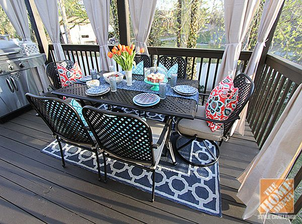 Good Deck Decorating Ideas: Hampton Bay Fall River Outdoor Dining Set And An  Indoor/outdoor Pictures Gallery