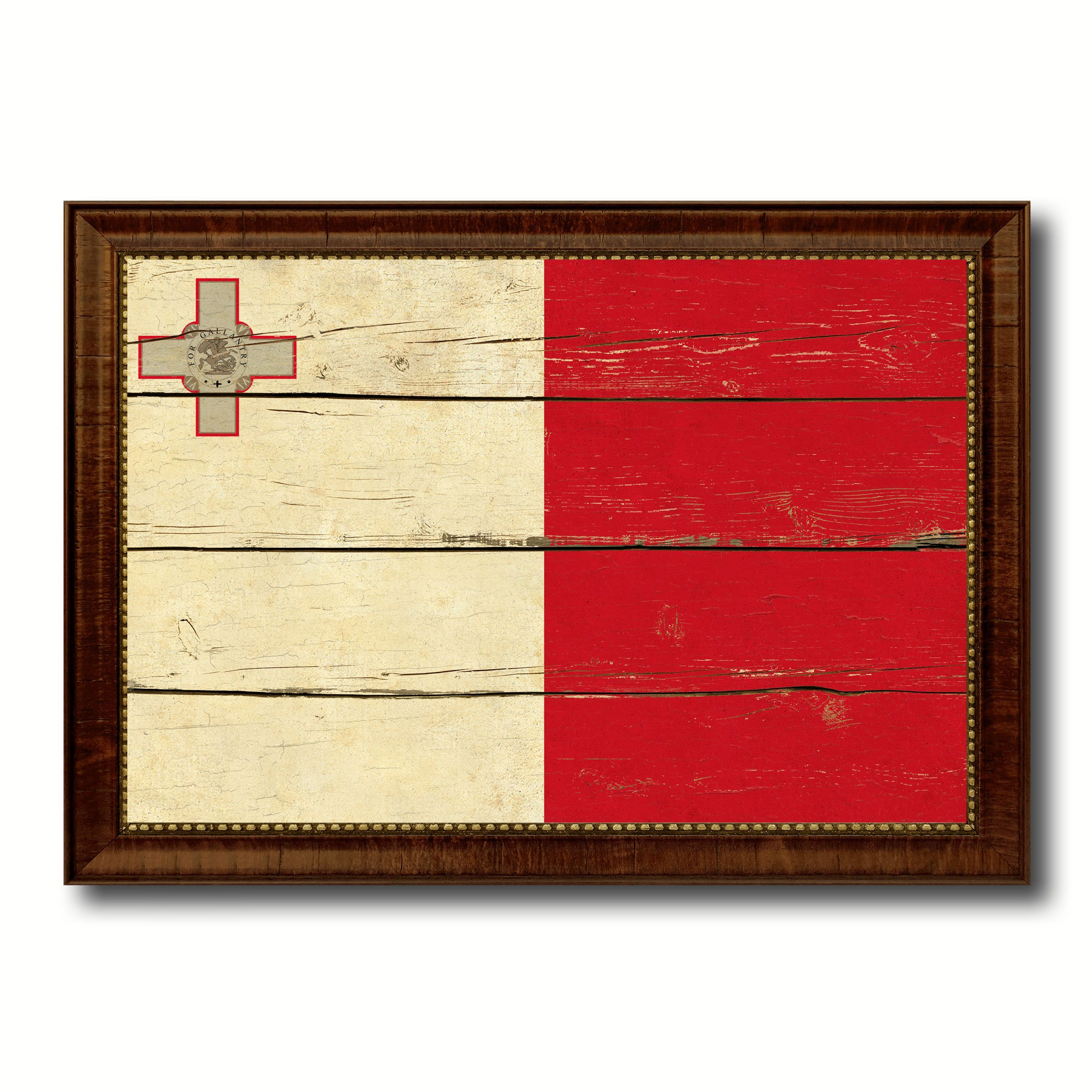 Malta Country Flag Vintage Canvas Print with Brown Picture Frame ...