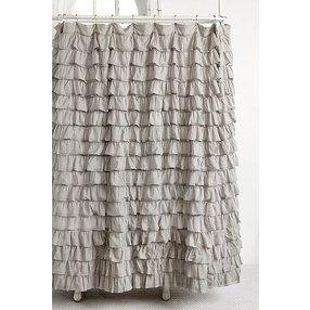 Waterfall Ruffle Shower Curtain Grey One Size Ruffle Shower
