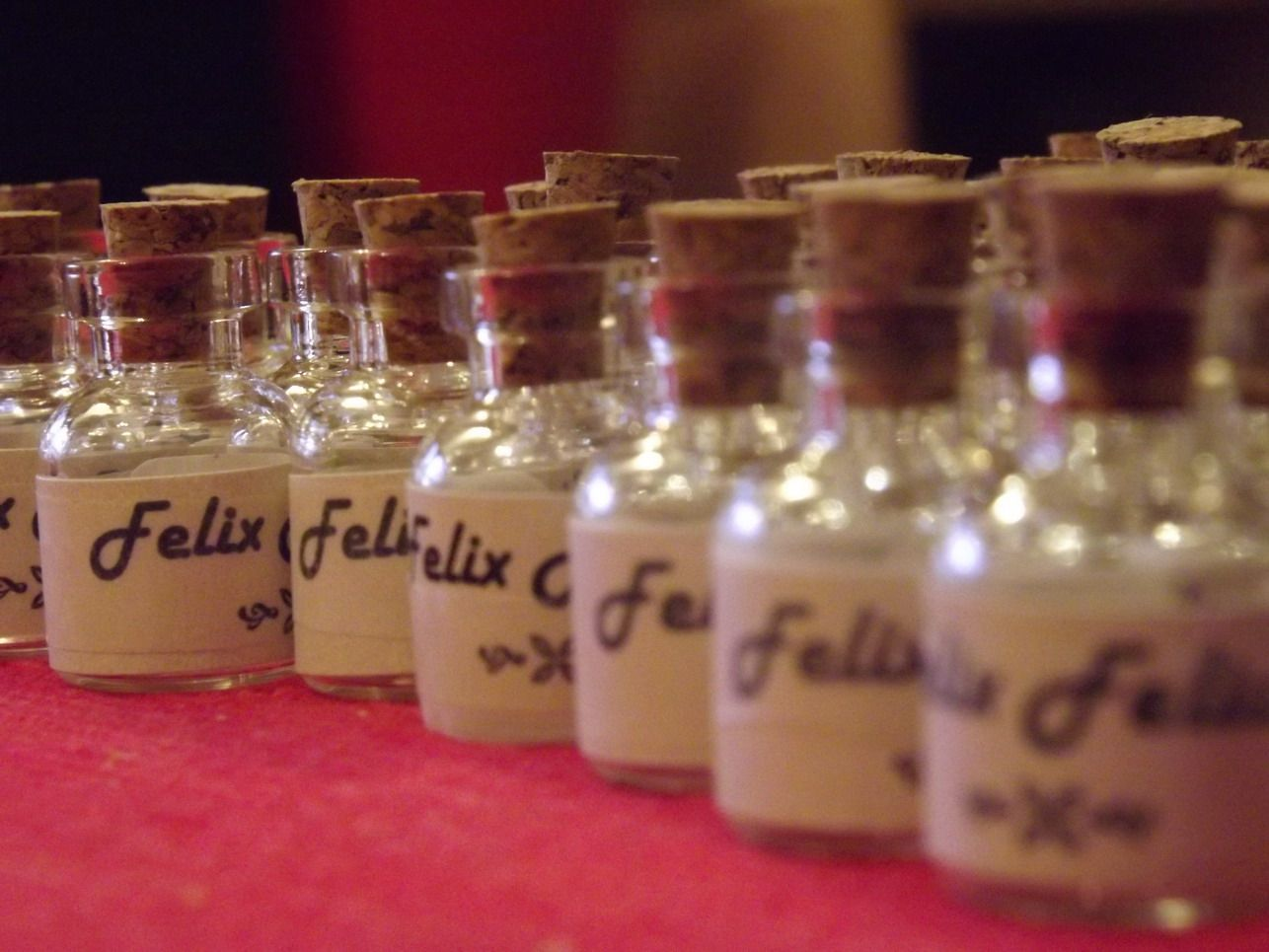 Felix Felicis bottles with labels on - FINALLY!!
