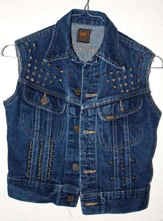 veste clout e en jean sans manche punk rock custom vintage femme xs couture jeans veste et. Black Bedroom Furniture Sets. Home Design Ideas
