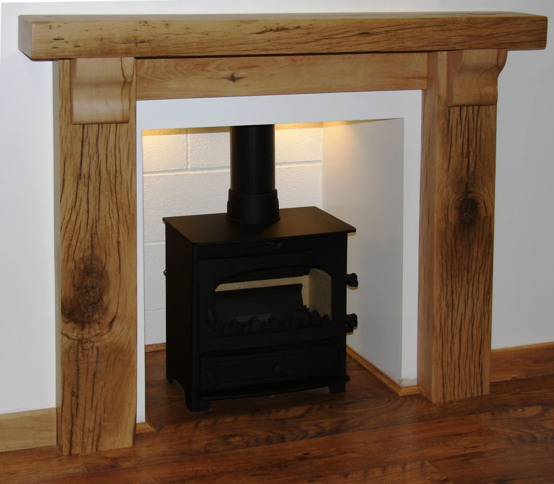 rustic solid french oak beam fire surround oxford 8x4 with