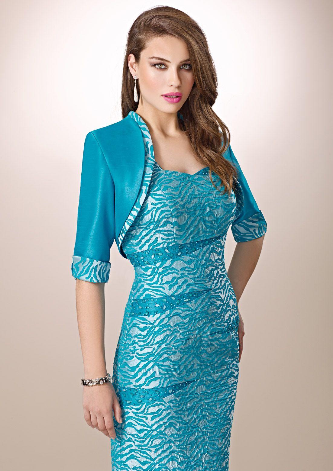 ZEILA DONNA 9205 Conjunto vestido y chaqueta en brocado y shantung ...