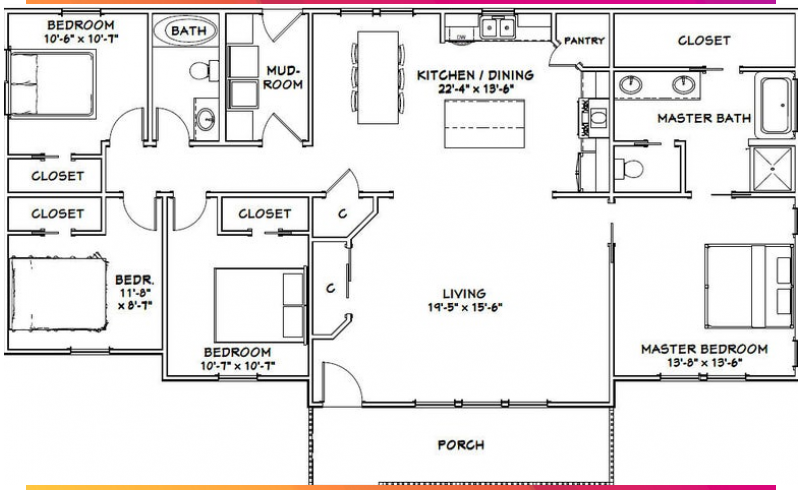 6030 House 4 Bedroom 2 Bath 1800 Sq Ft Pdf Floor Plan Instant Download Model 6a In 2020 Simple Ranch House Plans House Plans Farmhouse Bedroom House Plans