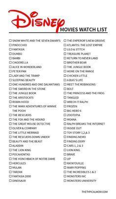 Free Printable Disney Classic Movies List!