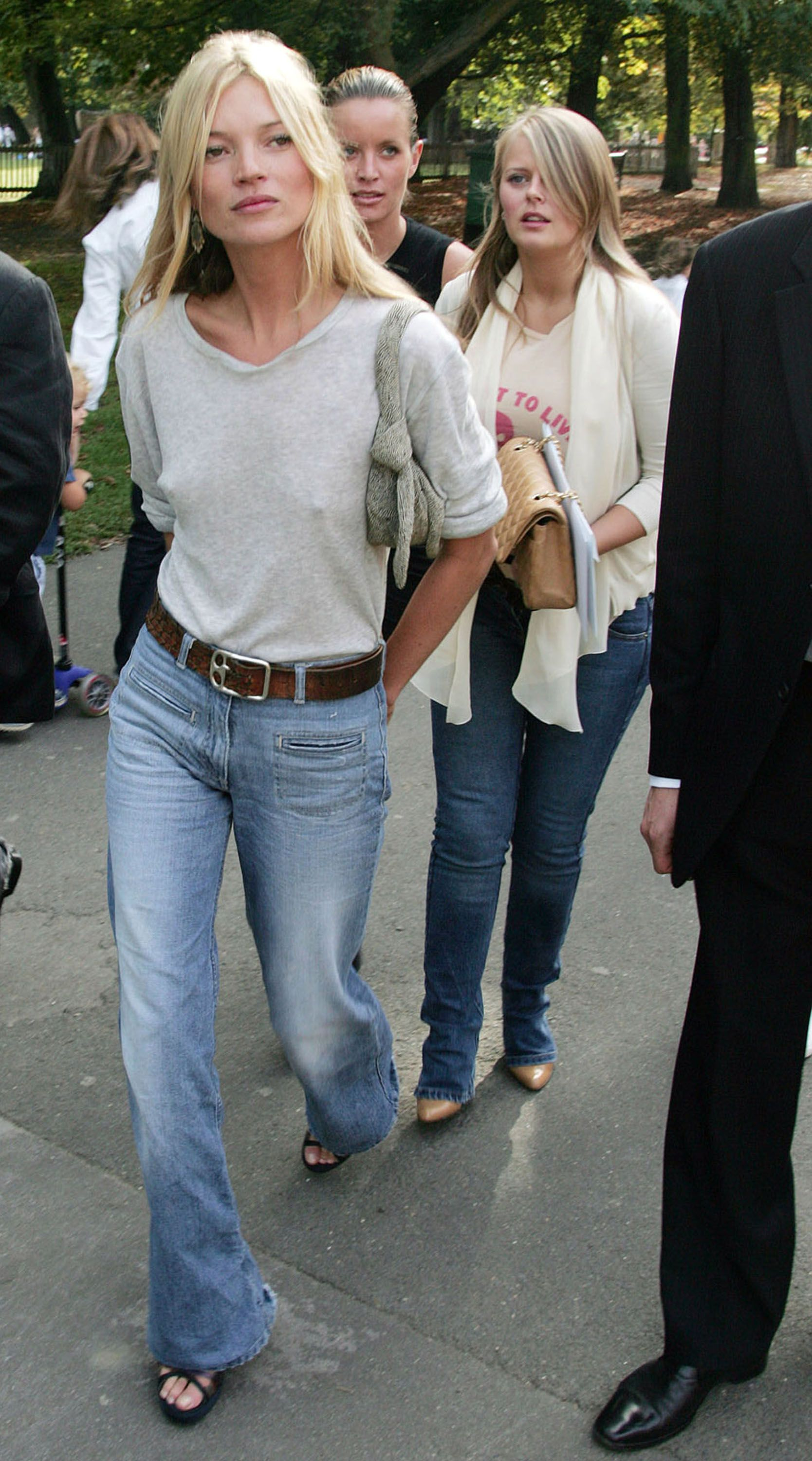 Kate Moss can conquer any style. Here she wears vintage Chloe flares with a simple top