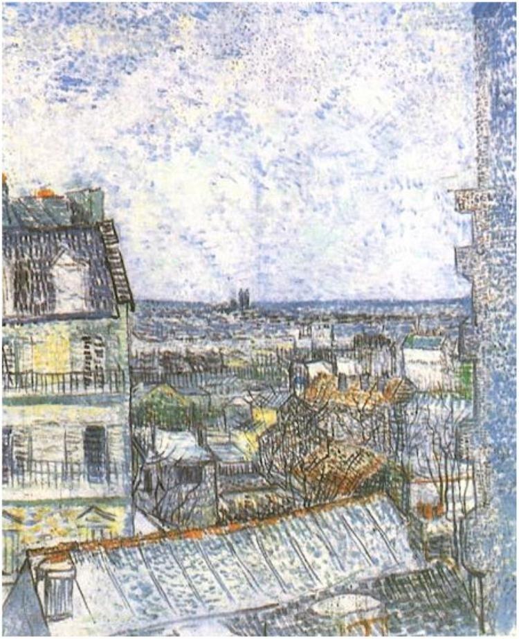 Vista de París desde la habitación de Vincent en la Rue Lepic.1887
