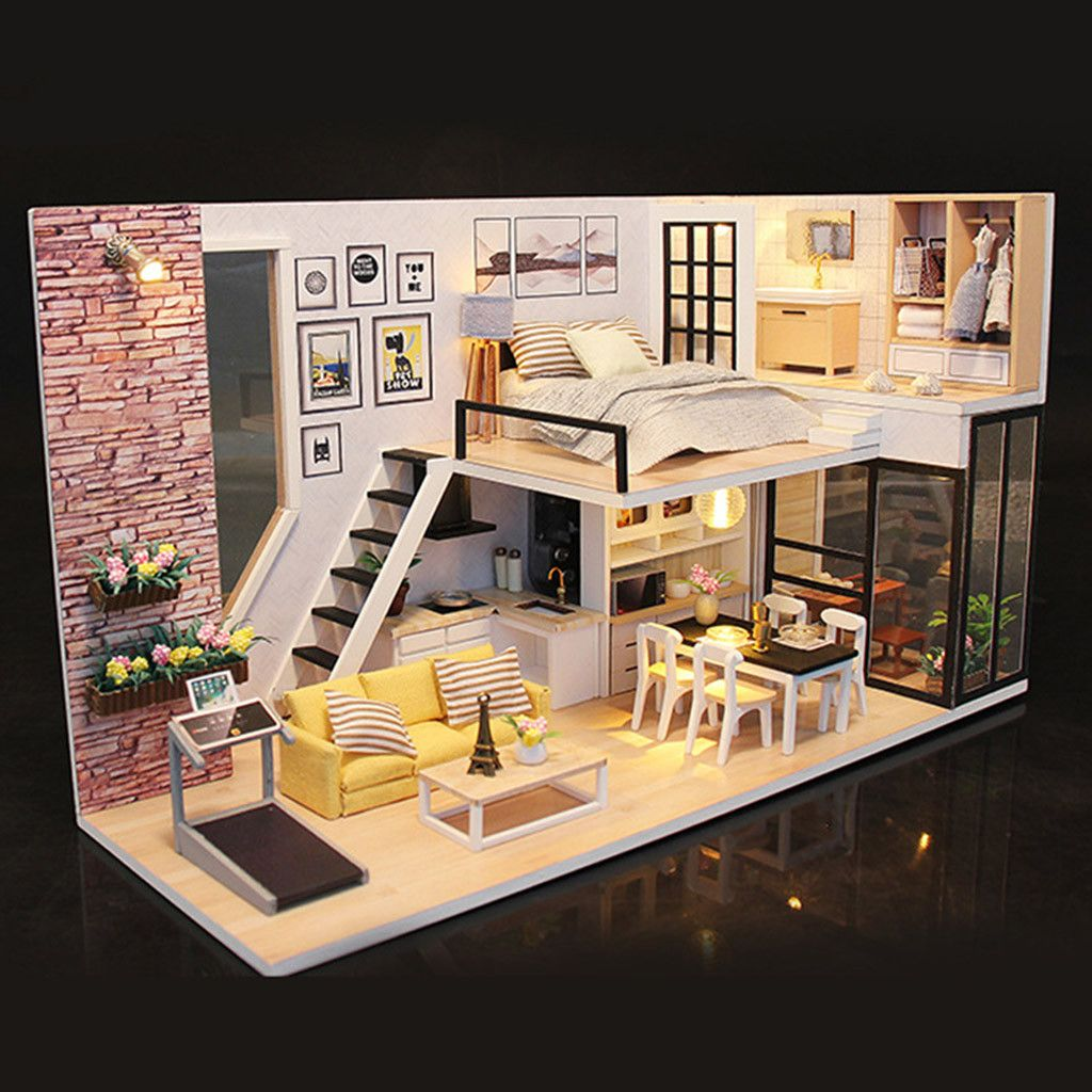 3D Holz DIY Miniatur Hausm?bel LED Haus Puzzle Dekorieren Sie kreative Geschenke CXJ81119104