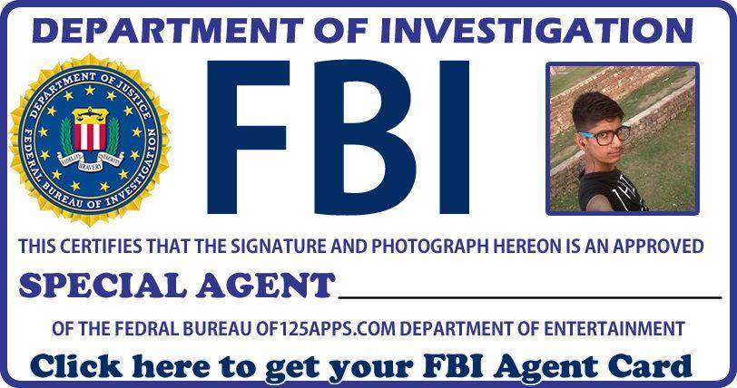 Get Your FBI Agent Id Card Now Fun Apps Fbi agent, Fbi