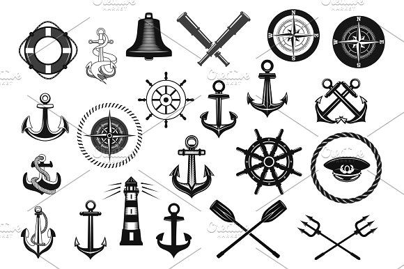 Nautical icon set with anchor, helm and rope Graphics Nautical icon set. Marine anchor, helm, rope, captain hat, compass, lighthouse, steering wheel, ship by Vector Tradition SM