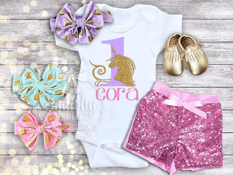 65996feb3 Girl's Personalized Unicorn Birthday Outfit in 2019 | Unicorn party ...