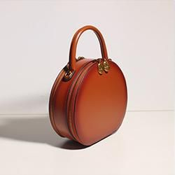 bc26c28a06 Leather Brown Circle Bag Circle Purse Round Purse Round Bag Crossbody Bag  Handbag Clutch