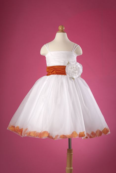 e34b4080477 flower girl dress with burnt orange sash petals gorgeous flower girl ...