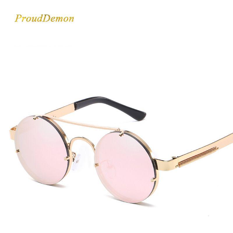 acheter Prouddemon Nouveau Rétro Rond Steampunk lunettes de Soleil Femmes  De Luxe Populaire En Métal Printemps 3f576bfd7017