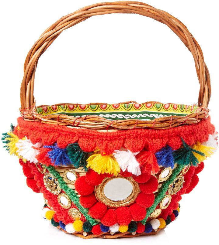 7b2590fe12fe DOLCE   GABBANA Agnese pompom-embellished basket bag