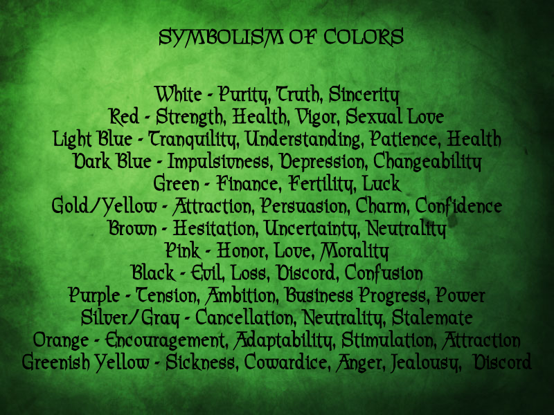 Magickal Color Chart Astral Color Candle Color And Days Of The