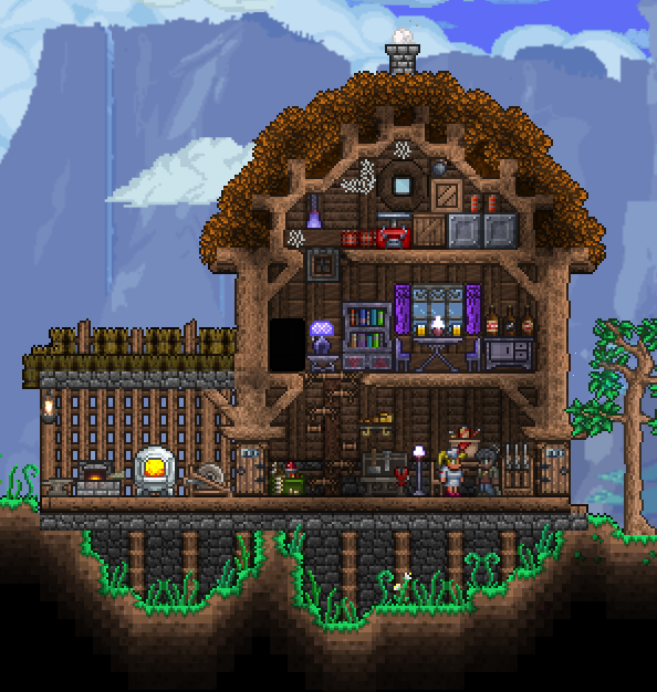 Demolitionist And Arms Dealer S House Made With Chad S Furniture Mod And Jenosis Furniture Food Terraria House Design Terraria House Ideas Terrarium Base